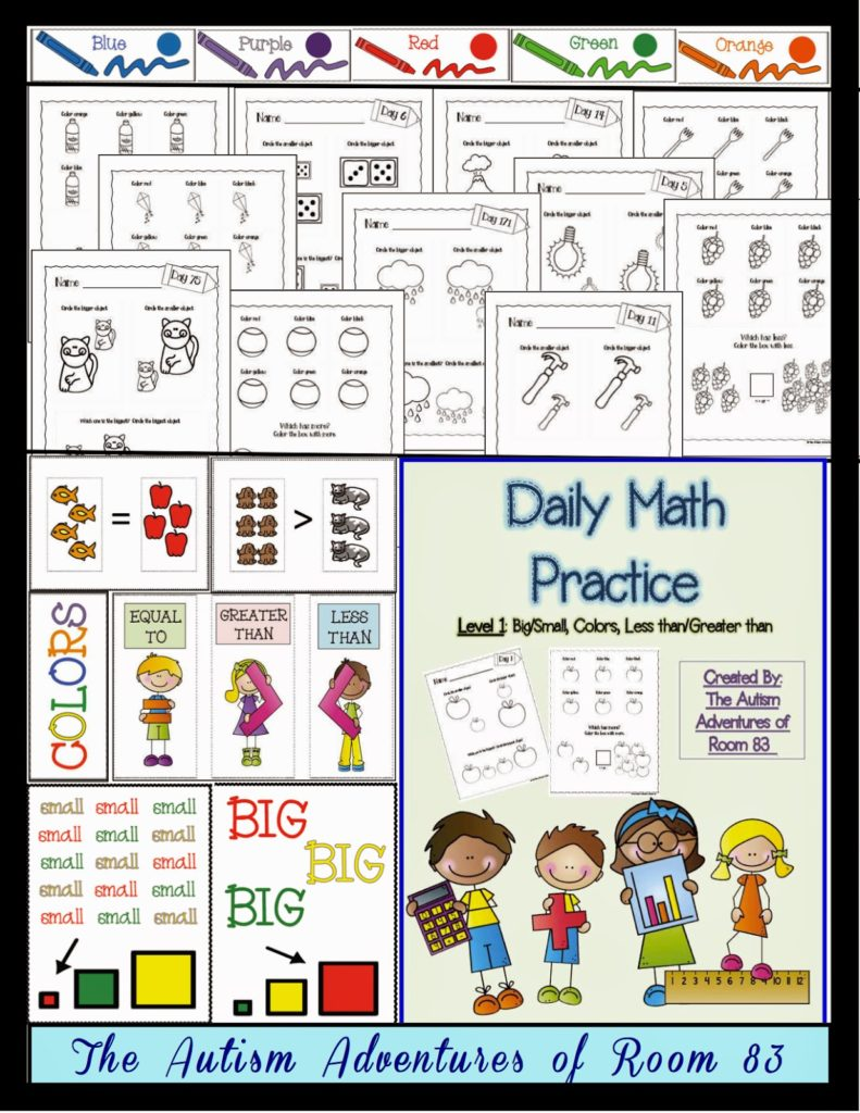 Daily Math Practice- Level 1 (Big/Small, More/Less, Colors ...
